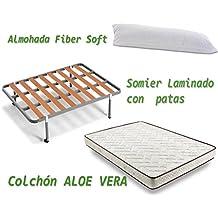 HOGAR24 ES Colchón Visco-Aloe + Somier Basic + Almohada De Fibra, 105x190 cm
