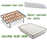 HOGAR24 - Aloe vera + somier basic + almohada fibra fibra, medidas 135x190