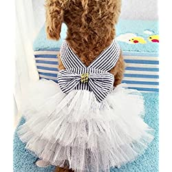 Milly and Spot™ talla grande vestido de perro tutú rayas azules - ropa para mascotas traje de perro ropa de perrito vestido de perro Armada