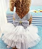 Milly and Spot™ Größe groß Tutu Hundekleid blauer Nadelstreifen mit Bogen - Haustier Kleidung Hundebekleidung Welpen Kleidung Kostüm marine kleid
