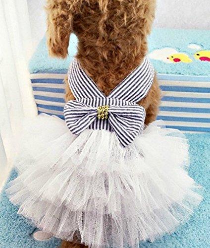 öße klein Tutu Hundekleid blauer Nadelstreifen mit Bogen - Haustier Kleidung Hundebekleidung Welpen Kleidung Kostüm marine kleid (Welpen Kostüme Für Hunde)
