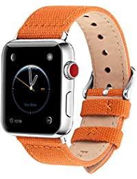 Fullmosa Compatible Apple Watch Strap 44mm 42mm 40mm 38mm, 8 Colors Canvas NATO Style for iWatch Strap Compatible with Apple Watch Series 4 (44mm 40mm) Series 3 Series 2 Series 1 (42mm 38mm)