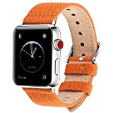 Fullmosa Compatible Apple Watch Strap 42mm 44mm, 8 Colors Canvas NATO Style Compatible
