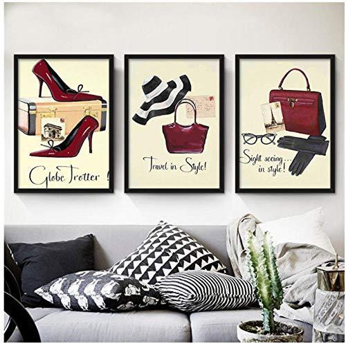 kldfig Moderne Dame Schöne Kleidung High-Heel Geldbörse Leinwand Malerei Kunstdruck Poster für Wohnzimmer Esszimmer Decor Wandkunst Bild-30 * 50 cm ungerahmt-3 stück