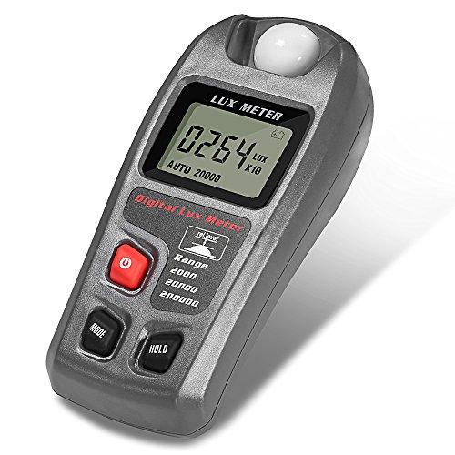 Medidor Digital Iluminación, Portátil Fotómetro Exposímetro con Medidor de Luz con Pantalla LCD, El Rango de Medición es 0.1 ~ 200.000 Lux y 0.01 ~ 20.000 Fc, Profesional Fotómetro