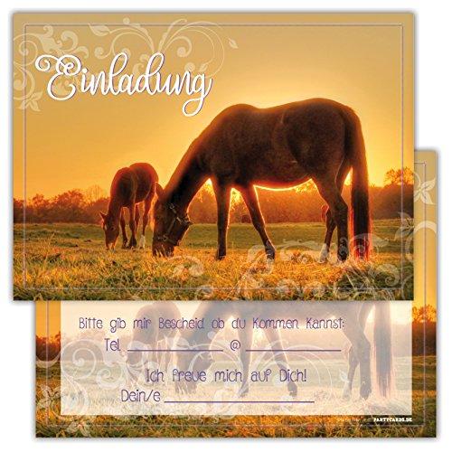 skarten Set Kindergeburtstag Pferden Himmel Wolke Wiese Einladung Geburtstag Party Schimmel niedlich (Tea-party-geburtstags-einladungen)