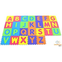 Alfabeto suave Alfombrilla de juego - Alfombrilla de bloqueo para niños - Actividad Puzzle Playmats - Protección de piso - Espuma EVA Alfabeto de alfombra de goma - A - Z = 26 Tapetes en total