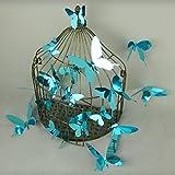 Ambiance-Live Set 12Sticker Schmetterlinge 3D Spiegel Blau