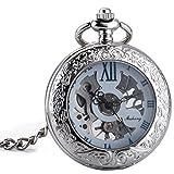 ManChDa® Retro Reloj de bolsillo Hombres mujeres Especial Lupa Cazador de media Elegante Caso grabado Esqueleto de Steampunk Movimiento mecánico con cadena + Caja de regalo