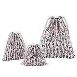 Abaría - 3 unidades bolsa de algodón con cuerdas - Pequeña saco bolsas - Bolsa inserto organizador para bebé ropa juguete pañales - Bolsa de regalo