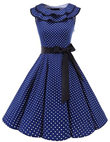 Bridesmay Damen 1950er Vintage Rockabilly Volants Ausschnitt Sommerkleid Ärmellos Partykleid...
