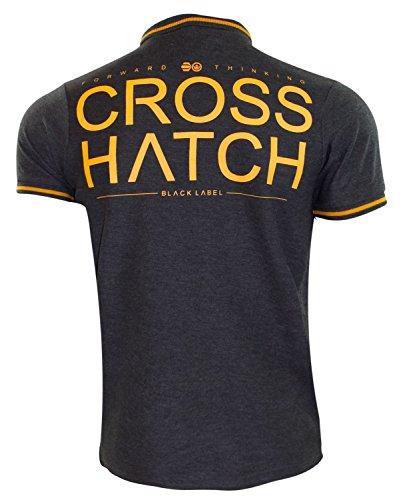 Neue Marken-Crosshatch PK-Polo-Shirt-Rippe-Tipping Pique-beiläufige Baumwollt-stücke Charcoal Marl