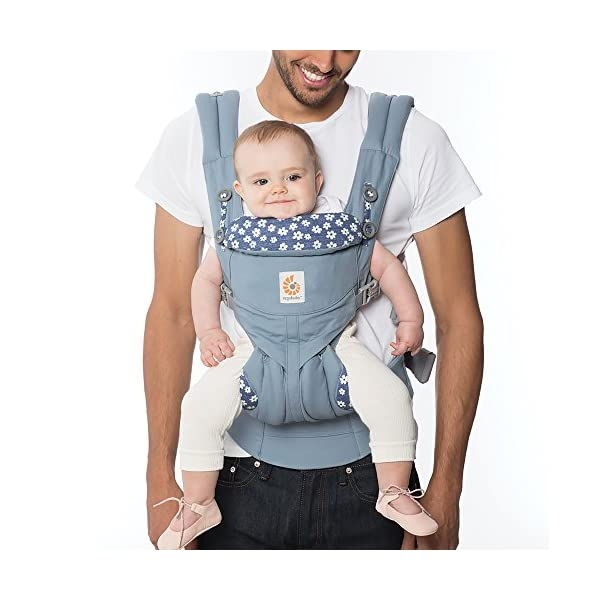ERGObaby Baby Carrier Newborn to Toddler, 4-Position Omni 360 Blue Daisy, Front Back Child Carrier Ergobaby Ergonomic Baby carrier with 4 ergonomic wearing positions: parent facing, on the back, on the hip and on the front facing outwards. Four ergonomic carry positions and easy to use. Adapts to baby's growth: Infant baby carrier newborn to toddler (7-33 lbs./ 3.2 to 20 kg), no infant insert needed. Maximum comfort for parents: Longwear comfort with lumbar support waistbelt and extra cushioned shoulder straps. 1