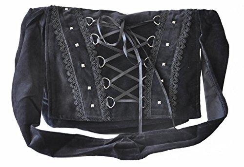 Gothic Victorian Renaissance Mädchen Punk WeinleseVamp Kostüm-Schwarz-College-Umhängetasche