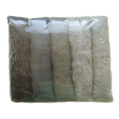 SIA COLLA-S Filzwolle Bunt Mischung Filz Gemischte 100% Wolle Grau Farbtönen Mix. Mindestens 5 Verschiedene Farbtöne, 50 g Insgesamt