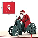 Kofun Grußkarte Umschlag, 3D Pop Up Frohe Weihnachten Grußkarte Geburtstag Neujahr Einladungskarte Papierkarten Handgemachte Handwerk Valentines Santa Motorrad Fahren