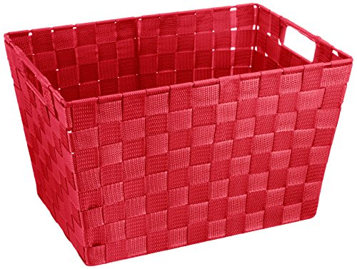 WENKO 20385100 Aufbewahrungskorb Adria M Rot - Badkorb, 100% Polypropylen, 35 x 22 x 25.5 cm, Rot