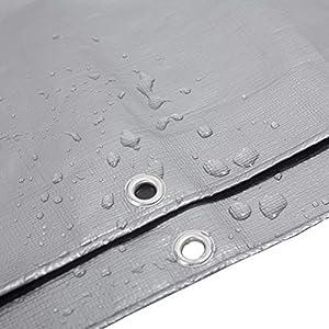 WOLTU GZ1211szg03 Telone Impermeabile Telo di Protezione Antipioggia Copertura da Esterno Giardino PE 280g/m² 4x8 m Grigio+Nero