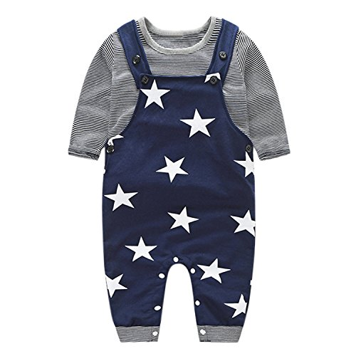 Baby Boys Girls T-Shirt Tops + Bib Pants Overalls Jumpsuit Set Outfits Clothing Set Grey 18-24 Months