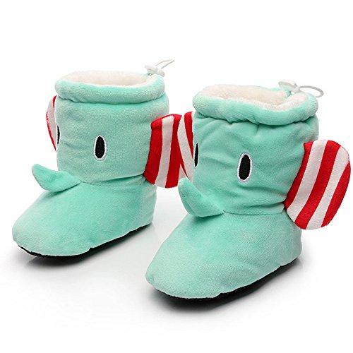 Eastlion 0-12 Monate Baby Schuh Mädchen warme Schuhe beschuht Hauptinnenschuhe, Sohlen Innenlänge 13cm Grün