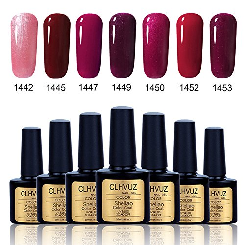 Clhvuz UV-LED-Gel-Nagellack-Set, Soak-Off-Nagellack, Langlebig, 7er-Set