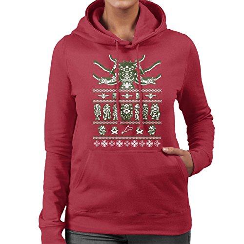 Chrono Christmas Ugly Sweater Women's Hooded Sweatshirt Cherry Red