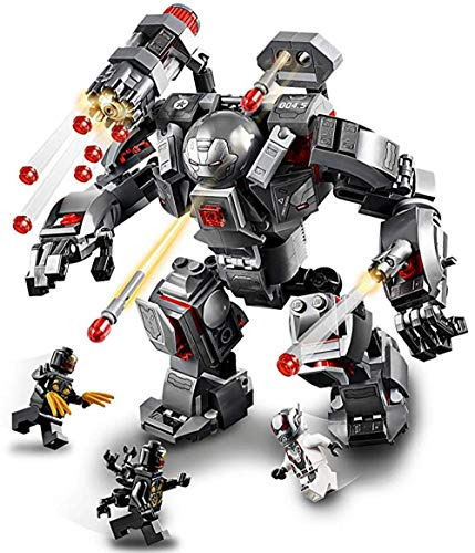 AMeu06 Großer Roboter mit 4 Minifiguren, Superhelden kämpfen Baukasten, Bausteine Spielzeug, Kindergeschenk 0337