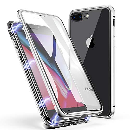 iPhone 7 Plus/8 Plus Hülle, ZHIKE Einteiliges Design magnetischer Adsorptionskasten Vollbildabdeckung Gehärtetes Glas Zurück (Handy-back-up-kamera)