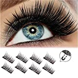YOUKE 2018 Version Magnetic Eyelashes, Long Size and Half Size in One Set, 0.2mm Ultra Thin Magnetic False Eyelashes, 3D Reusable Fake Lashes, Natural Look (2 Pairs 8 Pieces)