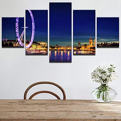 mmwin Leinwandbilder Bilder Modulare Wandkunst Sky Wheel 5 Stücke Schöne Seaside City Nightscape Poster Schlafzimmer Wohnkultur