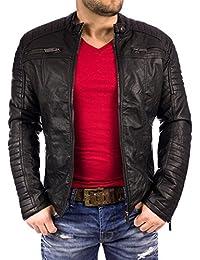 REDBRIDGE Hombre Chaqueta De Piel sintética PU de piel chaqueta Bike Step by Cipo Baxx DOPE streetwear Swag