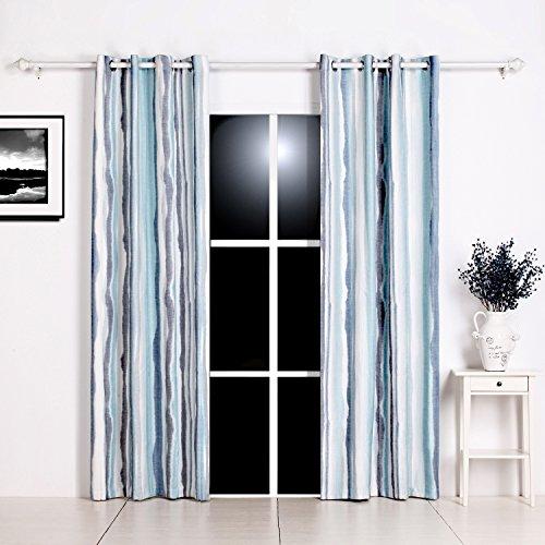 GWELL Gardinen Blau Farbverlauf Vorhang mit Ösen Dekoschal für Wohnzimmer Schlafzimmer 1er-Pack - Wohnzimmer Vorhänge Blau Für