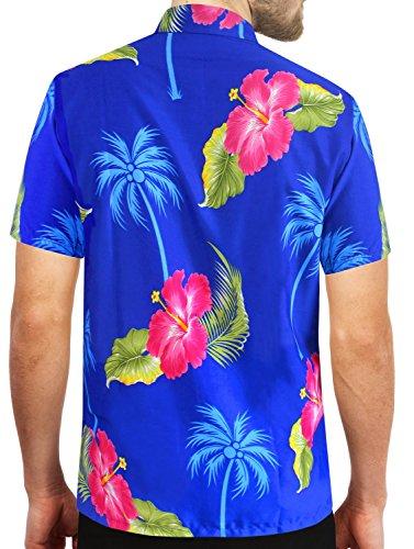 LA LEELA Strand Hawaiihemd Herren XS - 5XL Kurzarm Front-Tasche Hawaii-Print Casual Button Down Hemd Schwarz Königsblau