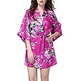 Villavivi Abito Vestito Pigiama Kimono Accappatoio Stampa Pavone Maniche Medie per Femmine Donna Ragazza (S:Busto 108cm, Lunghezza 80cm, Rosso di Rosa)