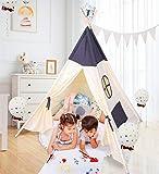 besrey Tente Tipi pour Enfant, Tipi Chambre Indienne Pliable, Jouet, Garçons et Filles, à L'intérieur et à L'extérieur - Beige et Bleu Foncé