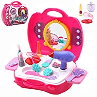 Buyger 21Pcs Styling Head Pretend Makeup Toy Kids Hair Dryer Role Play Toy for Girls Vanity set in Carry Case