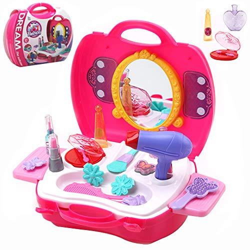 Buyger 21 Stücke Kunststoff Kinder schminkset Schminksachen Schönheit Prinzessin Mädchen koffer Rollenspiel Spielzeug Pretend Makeup kit