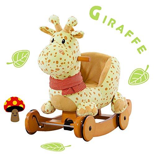 Labebe Baby Schaukelpferd Holz, 2-in-1 Schaukelpferd mit Räder, Schaukeltier Giraffe Gelbe für Baby 1-3 Jahre Alt, Schaukel Pferd/Schaukel Baby/Schaukeltier Musik/Schaukel Kinder/Schaukel Spielzeug