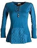 Vishes - Alternative Bekleidung – Bedrucktes Kapuzen Longshirt aus Baumwolle mit Kangurutasche türkis 36