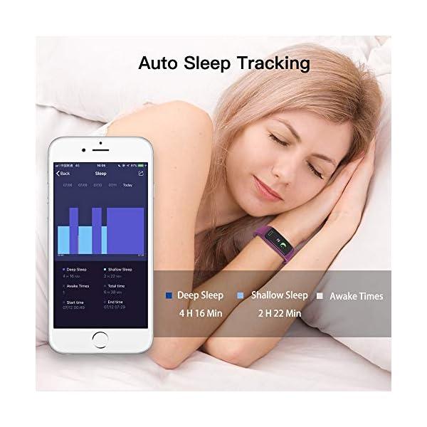 Pulsera de Actividad Inteligente Impermeable IP67 con 8 Modos de Deporte,Pulsera Inteligente con Pulsómetro, Blood Pressure, Sueño,Podómetro,Pulsera Deporte para Android y iOS Teléfono móvil 18