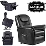 WINDSOR ELECRTIC RISE RECLINER REAL LEATHER ARMCHAIR SOFA HOME LOUNGE CHAIR (Black)