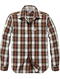 6a1f28b12b7 Carhartt Mens Long Sleeve Essential Open Collar Plaid Shirt
