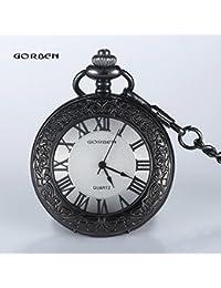 ShopyStore 2016 Vintage Gorben Black Carving Pattern Quartz Pocket Watch Women Roman Number Dial Fob