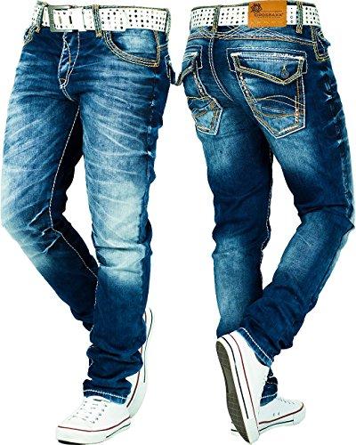 Cipo & Baxx Herren Jeans Denim Hose Freizeithose Clubwear Disco Streetwear Blau