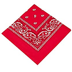 Pack of 3 X Paisley Bandana headband for Women, Girls,Men & Boys Bandanna Head scarf / Neck Scarf / Neckerchief / Handkerchief / Head Tie 100% Cotton (Red,Baby Pink,Red)