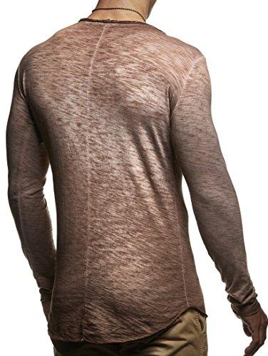 LEIF NELSON Herren Pullover Longsleeve Hoodie Sweatshirt Sweatshirt Basic Rundhals Langarm oversize Shirt Hoody Sweater LN6302 Braun Verwaschen