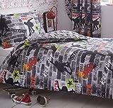 Kidz Club Teenagers - Set Copripiumino e Federa per Ragazzi, Letto Singolo, Biancheria da Letto Motivo Skateboard e Graffiti, Colore: Grigio
