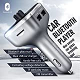 TheThousandStore All in One Car Charger with Bluetooth FM Transmitter Voltage Detection Micro SD Card USB Reader (Silver)