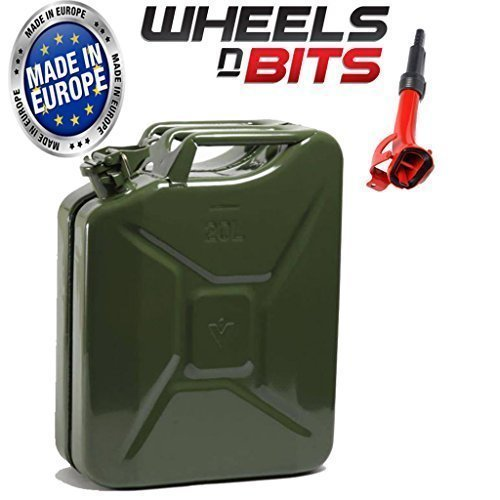 Wheels N Bits METAL POWER COATED INSIDE AN OUT JERRY CAN 20L LITRE CAN WITH SPOUT