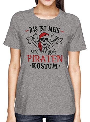 Kostüm Günstige Piraten Männer - Kostüm Pirat Premium T-Shirt | Verkleidung | Karneval | Fasching | Frauen | Shirt, Farbe:Graumeliert (Grey Melange L191);Größe:L